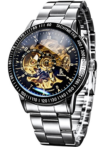 Alienwork IK Mechanical Automatic Watch Skeleton men watches sport Timeless design Stainless Steel black silver 98226-11
