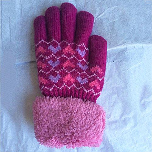 QH Kinder Stricken Handschuhe Jacquard Plus Kaschmir Dicke Warme Herbst und Winter Kalte Handschuhe Handschuhe,B,Der gesamte Code
