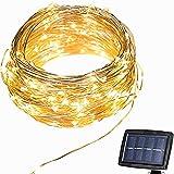 Luces Solar Exterior Tira Lamparas led de Decoración, perfecto para Fiestas, Boda, Arbóles Navidad, Jardín, Terraza y al Aire Libre (Amarillo)