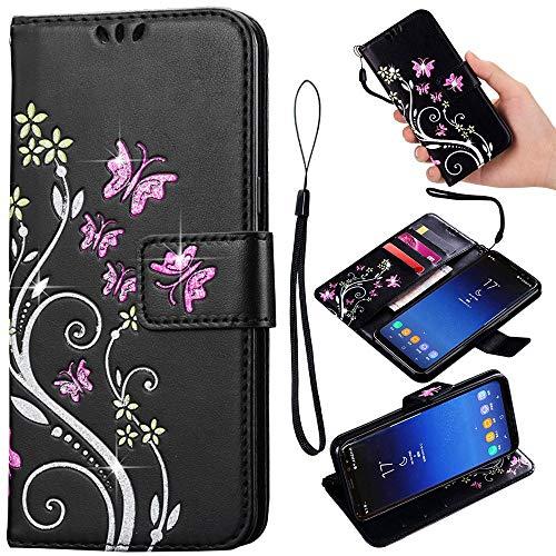 Samsung Galaxy Note 4 Hülle, PU Leder Flip Hülle 3D Reliefprägung Butterfly Bling Schutzhülle mit Handschlaufe Ständer Voller Schutz - Schwarz ()