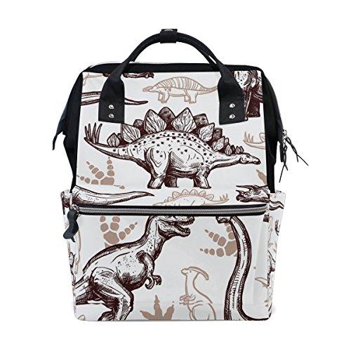 tizorax Zeichnen Dinosaurier Fußabdrücke Windel Rucksack Große Kapazität Baby-Bag Multifunktions-Wickeltaschen Mom Rucksack Reisen für Baby Care