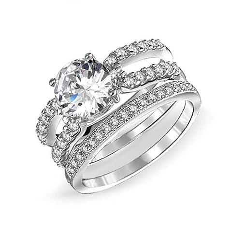925 Silver Round Double Band CZ Engagement Wedding Ring Set (Stapelbare Zirkonia Band)