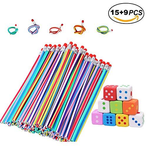 iche Bendy Bleistifte Magie Flexible Bleistift & 9 STÜCKE Radiergummi Würfel für Kinder Schreiben Geschenk Schule Spaß Ausrüstung ()