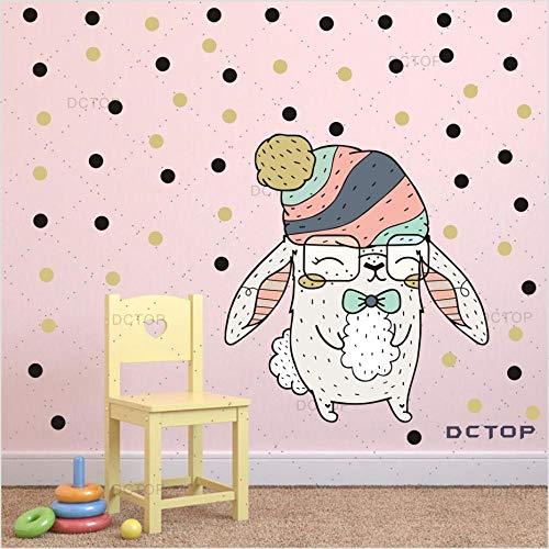 Wandaufkleber Multicolor dot cartoon kaninchen abnehmbare wandkunst aufkleber für kinderzimmer schlafzimmer niedlichen großen hasen wandkunst dekor wohnkultur -