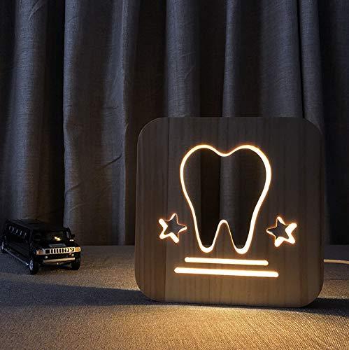 Zähne, die kleine hölzerne Lichter der Nachtlicht-3d anreden -