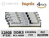 #4: Timetec SK Hynix 128GB Kit (4x32GB) DDR3L 1333MHz PC3-10600 Load Reduced ECC 1.35V CL9 4Rx4 Quad Rank 240 Pin LRDIMM Server Memory Ram Module Upgrade HMT84GL7MMR4A-H9