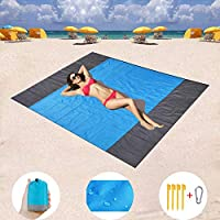ZMZTec Sand Free Beach mat 210x200cm Beach mat Waterproof and Sand Proof, Quick Drying Strong Ripstop Beach Blanket, Compact Travel, Camping, Hiking and Music Festivals