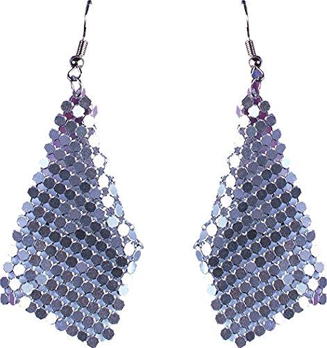 Damen 1970s Jahre Disco Party Zubehör Kostüm Kostüm Schmuck Diamant-Ohrringe - Silbern, One size