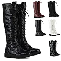 Womens Lace Up Knee High Calf Boots Ladies Winter Grip Sole Military Combat Biker Shoes Size 3-8