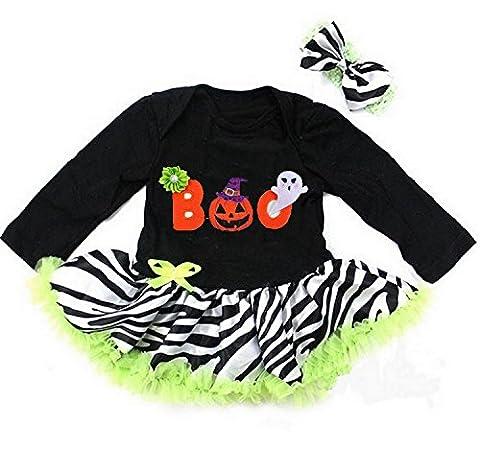 Kirei Sui Baby Halloween Boo Black Lime Zebra Long Sleeves Bodysuit X-Large