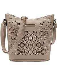 Volyer Women'S Vintage Crossbody Shoulder Bag Purse Hollow Out Bucket Bag Medium Size (Khaki)