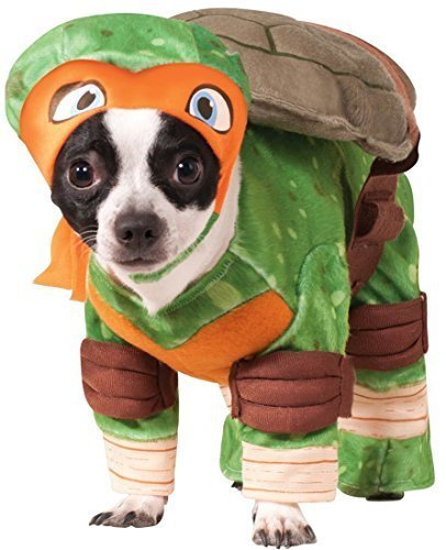 Haustier Hund Katze Teenage Mutant Ninja Turtles Halloween Film Cartoon Kostüm Kleid Outfit Kleidung Kleidung - Orange (Michaelangelo), Large