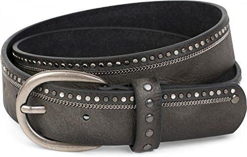 styleBREAKER Vintage Nietengürtel mit eingearbeiteter Kette und verschiedenfarbigen Nieten, Gürtel Unisex 03010070, Farbe:Dunkelgrau;Größe:95cm