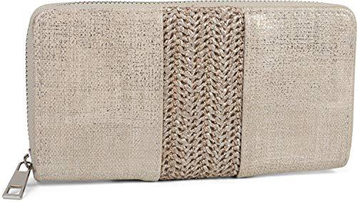 styleBREAKER Damen Portemonnaie mit Webstoff und Antik-Look, Reißverschluss, Geldbörse 02040125, Farbe:Hellgrau -