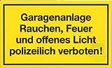 Schild / Aufdruck : Garagenanlage Rauchen, Feuer und offenes Licht polizeilich verboten! / Größe: 300mm x 200mm / 30cm x 20cm