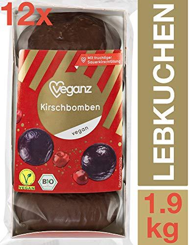 Veganz Kirschbomben BIO Lebkuchen mit Fruchtiger Sauerkirschfüllung - Vegan und Himmlisch Lecker - 12 Packungen mit je 5 Stück, 12 x 165g
