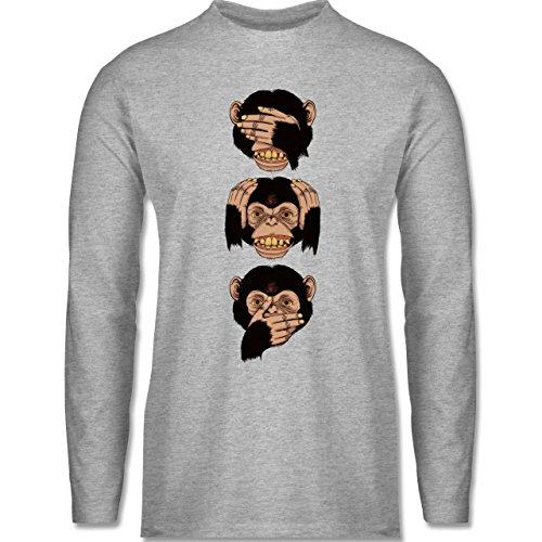 Shirtracer Statement Shirts - Drei Affen - Sanzaru - Herren Langarmshirt Grau Meliert