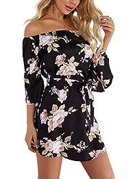 YOINS Damen Sommerkleider Lange Ärmel Schulterfrei Eelegant Sexy  Blumenmuster Kurzes Strandkleid ecc4fb9044