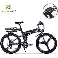 Livraison avant Noël Vélo électrique Vélo de montagne VTT pour hommes Batterie Lithium-ion RT860 12.8Ah 7 niveaux Pedelec vitesse haute fonction tachymètre 50-60KM cadre pliable Double suspension