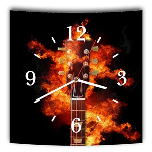 LAUTLOSE Designer Wanduhr mit Spruch Gitarre schwarz Feuer Musik Rock grau weiß modern Dekoschild Abstrakt Bild 29,5 x 28cm - Feuer E-gitarre