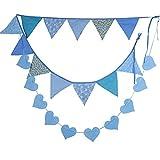 BUONDAC 2pcs Guirnaldas Banderines Banderitas Corazones Tela Decoración Fiesta Cumpleaños Boda Bautizo Jardín Hogar Banderas Triangulares Color Azul