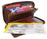 Große Geldbörse Leder Herren Damen mit RFID Schutz Organizer Reisebrieftasche XL Portemonnaie Portmonee Travel Wallet Mappe für Reiseunterlagen Vintage braun aus Echt-Leder von Corno d´Oro 9118