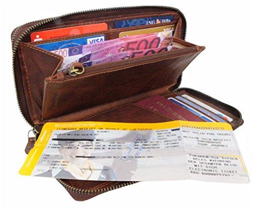 Große Geldbörse Leder Herren Damen mit RFID Schutz Organizer Reisebrieftasche XL Portemonnaie Portmonee Travel Wallet Mappe für Reiseunterlagen Vintage braun aus Echt-Leder von Corno d´Oro 9118 (Damen Leder-organizer)