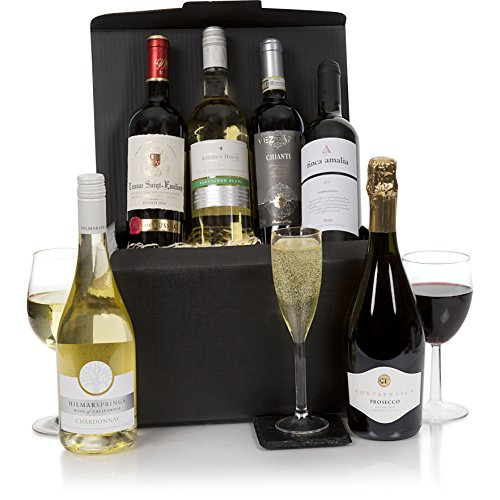 Cesta de vino de lujo - Selección hecha por expertos de seis botellas de vino - Es el regalo perfecto de champán y vino