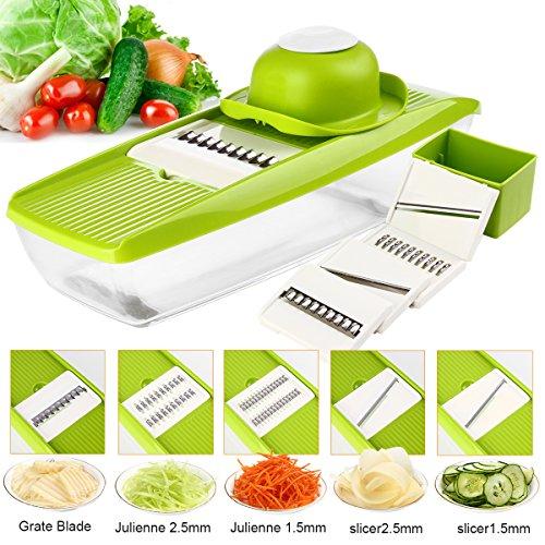 Gemüsehobel 5-in-1 Multi-funktion Gemüseschneider Mandoline Gemüsehobel, Obst- und Käse-Cutter, 5 austauschbare Klingen + Gemüsehalter +Lebensmittelbehälter+ Stoßbrett + Blade Aufbewahrungsbox- Grün -
