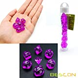 Bescon Mini Durchsichtig Polygonal Würfel Set 10mm- Small Transparente Mini Spielwürfel D&D Dice Set of 7, Kleine RPG - Rollenspiel Polyedrische Dice Set D4-D20 in Tube, Transparente Purple