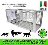 MEDICALMONO GABBIA TRAPPOLA MAXI 78CM SCATTO A PEDANA, CHIUSURA AD ANTA PROFESSIONALE RINFORZATA DI ALTA QUALITA' CATTURA DI ANIMALI MEDI GATTO VOLPE NUTRIA MARMOTTA CM78X32X32H MADE IN ITALY
