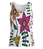 Snoogg Colorful Floral Seamless Pattern In Cartoon Style Seamless Pattern Womens Tunic Casual Beach Fitness Vests Tank Tops Sleeveless T shirts