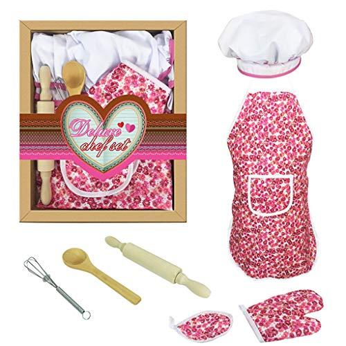 Dapei 7 stücke Kinder Kochen Und Backen Set Küche Kostüm Pretend Rollenspiel Kit Schürze Hut Spaß