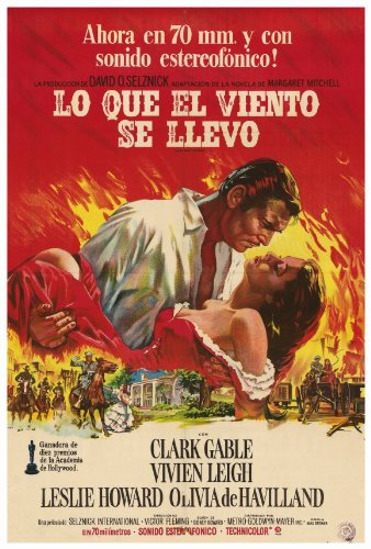 Gone With The Wind Plakat Movie Poster (27 x 40 Inches - 69cm x 102cm) (1968) Argentine