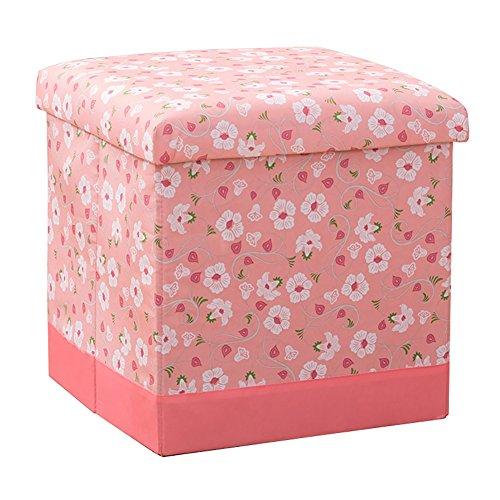Lagerung Hocker LXF Faltender Speicher-Ottoman-Kasten-Spielzeug-Schemel-Bank-Vielseitiges Platzsparen (Farbe : Pink, Größe : 38*38*38cm)