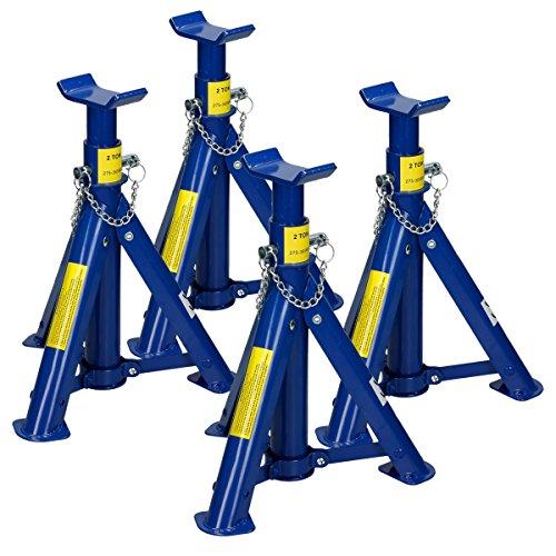 ECD Germany 4 Stück Unterstellböcke 2t 2000 kg | aus Stahl | Blau | 3-Fach verstellbar | klappbar | Unterstellbock Abstellböcke Abstellbock Stützböcke Arbeitsbock Bock Wagenheber Lastheber