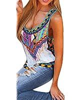 bluse damen Kolylong Frau Beiläufig Multicolor Gedruckt Vest Tank Tops