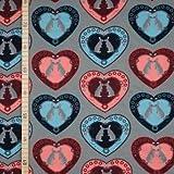 StoffHandwerker Verliebte Hasen im Herz - Grau - French