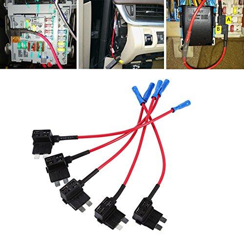 12 V Auto-Adapter für Sicherungshahn-Adapter, Mini-ATM APM Flachsicherungshalter für Standard-Sicherungskastenhalter, Steckerbuchse 5a-atc Fuse