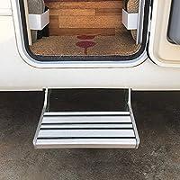 CHHMAELOVE Plegado Se Produce El Embarque De Escalera Pases Caravana Autocaravana,EscalóN Accesorio para Caravana Aluminio,EscalóN Plegable para Caravana (hasta 200 Kg),Silver