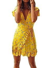 9724c6efea4 Imixcity Femme Col V Profond Imprimé Foral Manches Courtes Cache-cœur Robes  d été
