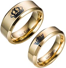 Moneekar Jewels 2pcs Her King / His Queen Titanium Stainless Steel 14K Gold Plated Promise Wedding Band Ring Set Anniversary Engagement Couple Rings for Lovers (PLEASE SELECT MEN & WOMEN PAIR SIZE FROM STYLE OPTION AS PER YOUR REQUIREMENT)
