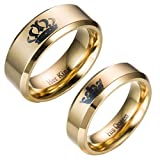 Moneekar Jewels Stainless Steel 14K Gold Plated Her King and His Queen Titanium
