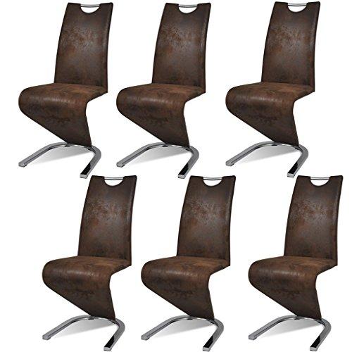 vidaXL 6xEsszimmerstuhl Freischwinger Kunstlederstühle Schwingstuhl Polsterstuhl