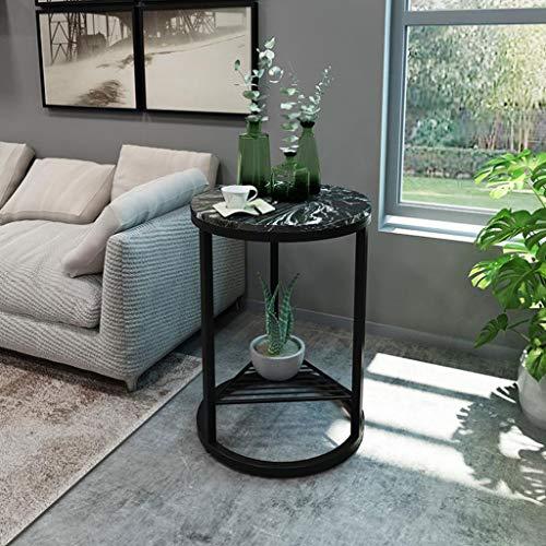 T-Day Beistelltische Nachttisch Tische Couchtisch Runder Beistelltisch mit Marmor-Außenseite - Moderne leichte Möbel mit Metalleffekt - Für Bett/Flur/Wohnzimmer (Color : C, Size : 40CM) -