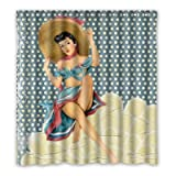 Dalliy Brauch Sexy Pin Up M?dchen Wasserdicht Polyester Shower Curtain Duschvorhang 167cm x 183cm