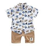 LEXUPE Kleinkind scherzt Baby-Blument-Shirt Tops + Shorts Hosen 2pcs Kleidung eingestellt(Braun,110/14/XL)