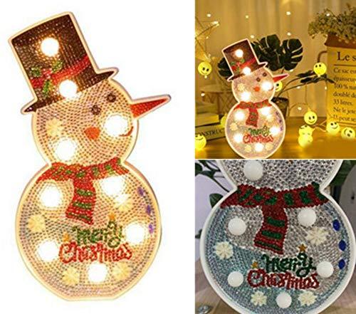 Hete-supply DIY Diamond Painting Kit mit LED-Nachtlicht, DIY handgefertigte Kunstwerke, Full Drill Crystal Drawing Kit, Weihnachtsbaum Schneemann Lichter Home Decoration -