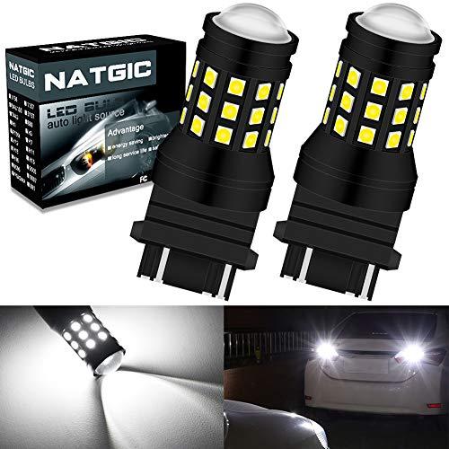 NATGIC 3157 3156 3057 4157 3155 LED Ampoules rouge 1800LM 3014SMD 78-EX avec projecteur /à lentille pour feux stop freins 12-24V pack de 2