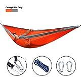 Babimax-Hamac-Double-210T-Nylon-Portable-Respirante-Lger-Jardin-Voyage-Camping-pour-2-personnes-10655-Pouces-Charge-Max-200kgGris